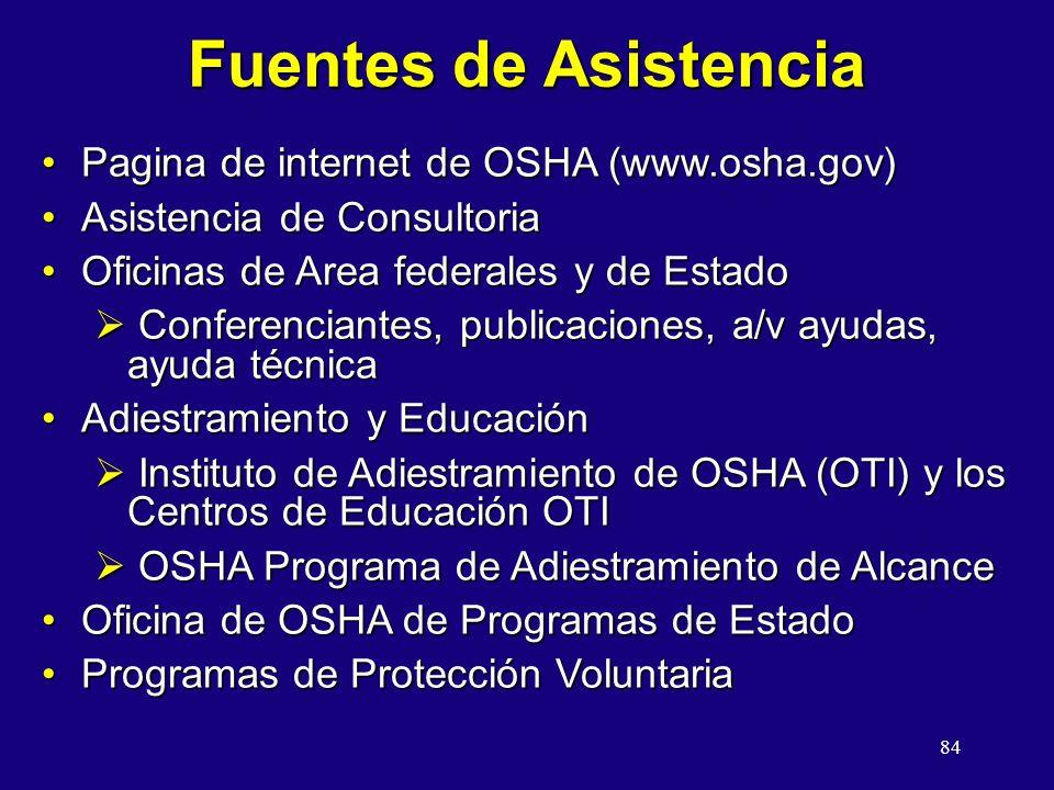 84 Fuentes de Asistencia Pagina de internet de OSHA (www.osha.gov)Pagina de internet de OSHA (www.osha.gov) Asistencia de ConsultoriaAsistencia de Consultoria Oficinas de Area federales y de EstadoOficinas de Area federales y de Estado Conferenciantes, publicaciones, a/v ayudas, ayuda técnica Conferenciantes, publicaciones, a/v ayudas, ayuda técnica Adiestramiento y EducaciónAdiestramiento y Educación Instituto de Adiestramiento de OSHA (OTI) y los Centros de Educación OTI Instituto de Adiestramiento de OSHA (OTI) y los Centros de Educación OTI OSHA Programa de Adiestramiento de Alcance OSHA Programa de Adiestramiento de Alcance Oficina de OSHA de Programas de EstadoOficina de OSHA de Programas de Estado Programas de Protección VoluntariaProgramas de Protección Voluntaria