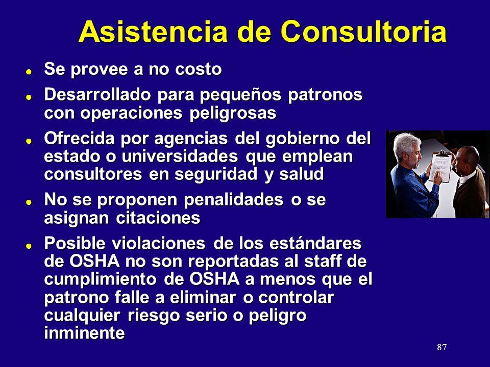 87 Asistencia de Consultoria l Se provee a no costo l Desarrollado para pequeños patronos con operaciones peligrosas l Ofrecida por agencias del gobie
