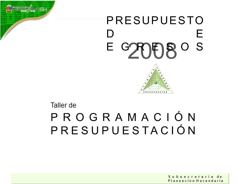 S u b s e c r e t a r í a d e P l a n e a c i ó n H a c e n d a r i a PROGRAMACIÓN PRESUPUESTACIÓN Taller de 2008 PRESUPUESTO DE EGRESOS