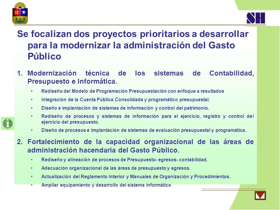 Se focalizan dos proyectos prioritarios a desarrollar para la modernizar la administración del Gasto Público 1.Modernización técnica de los sistemas d