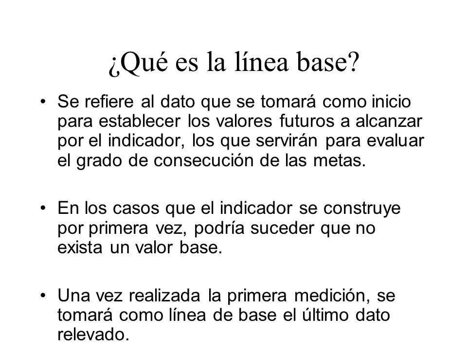 ¿Qué es la línea base? Se refiere al dato que se tomará como inicio para establecer los valores futuros a alcanzar por el indicador, los que servirán