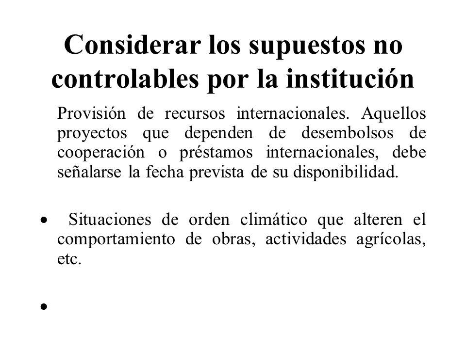 Considerar los supuestos no controlables por la institución Provisión de recursos internacionales. Aquellos proyectos que dependen de desembolsos de c