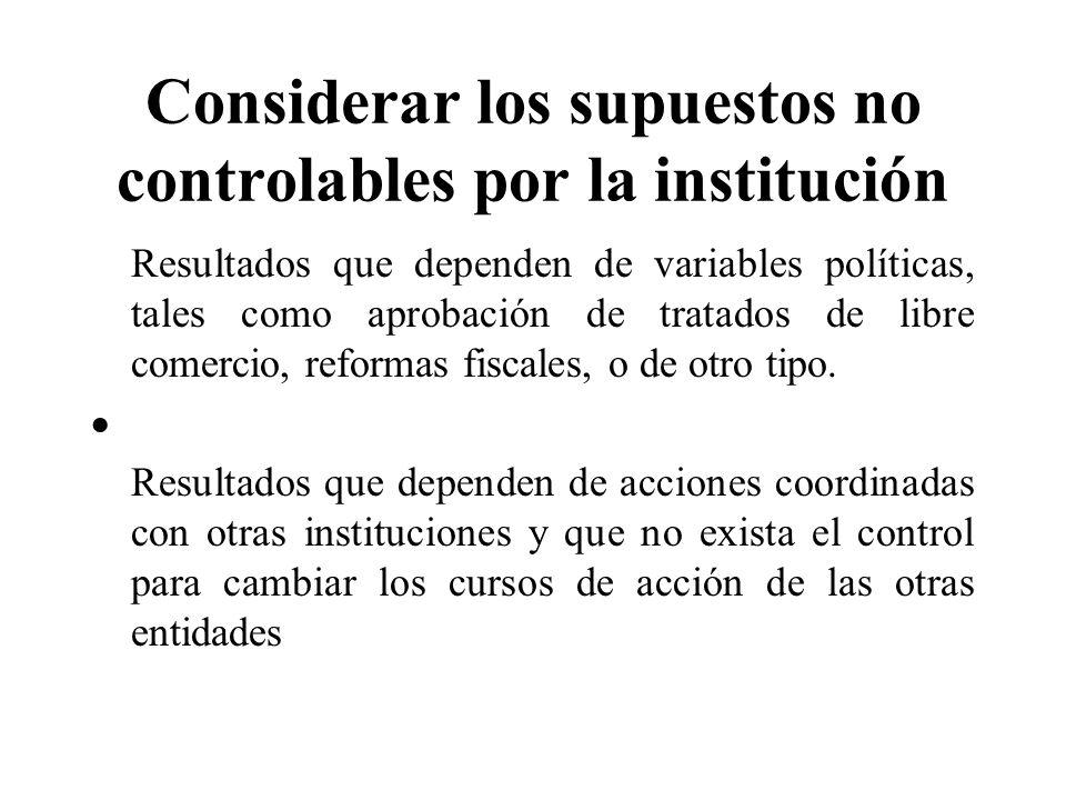 Considerar los supuestos no controlables por la institución Resultados que dependen de variables políticas, tales como aprobación de tratados de libre