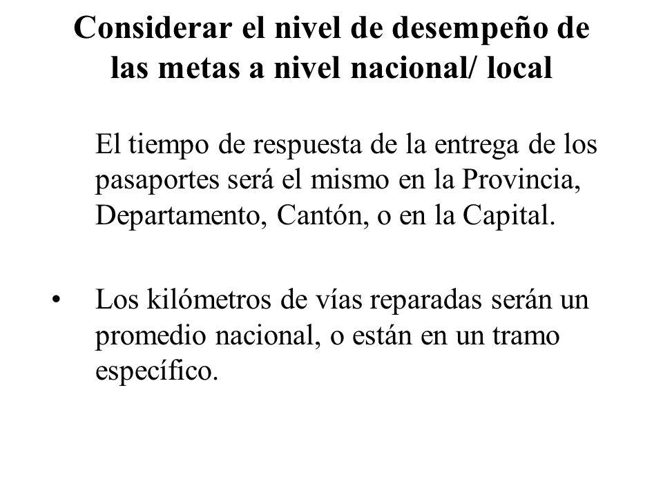 Considerar el nivel de desempeño de las metas a nivel nacional/ local El tiempo de respuesta de la entrega de los pasaportes será el mismo en la Provi