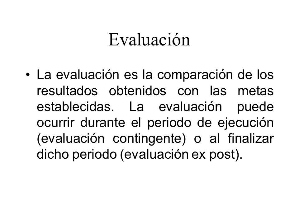Evaluación La evaluación es la comparación de los resultados obtenidos con las metas establecidas. La evaluación puede ocurrir durante el periodo de e