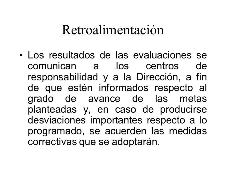 Retroalimentación Los resultados de las evaluaciones se comunican a los centros de responsabilidad y a la Dirección, a fin de que estén informados res
