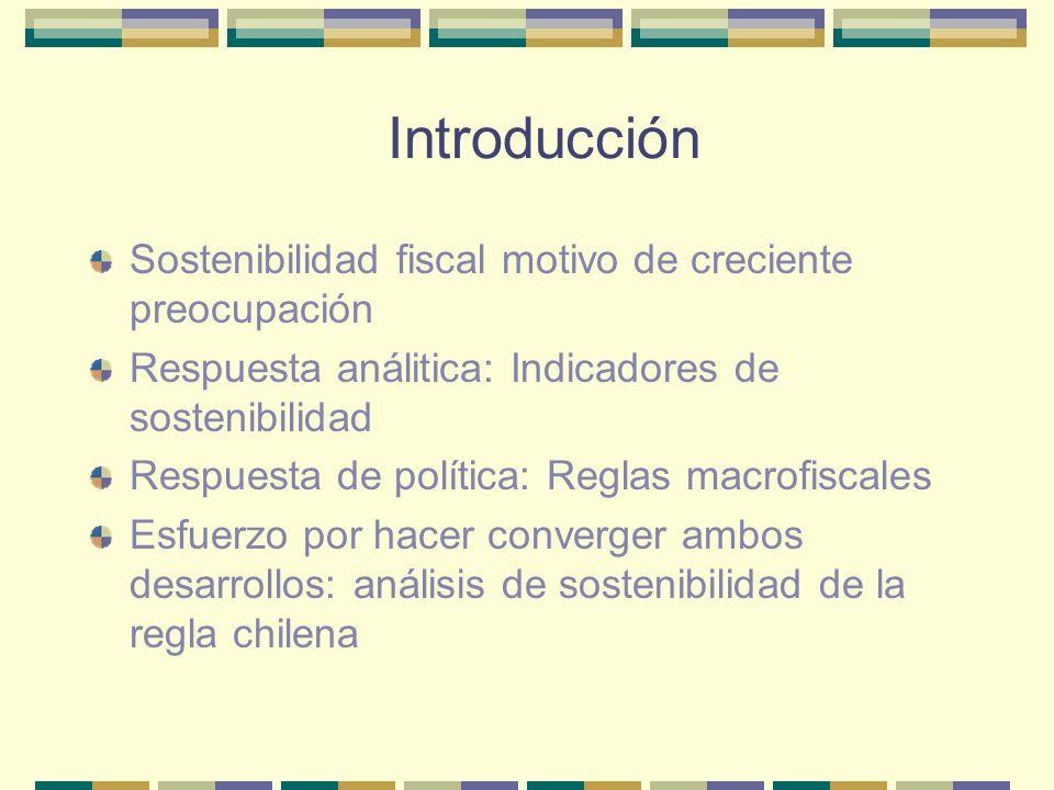 Contenido de la presentación Indicadores de sostenibilidad tradicionales Historia fiscal reciente de Chile Hacia un indicador intertemporal de sostenibilidad Aplicación a la regla chilena