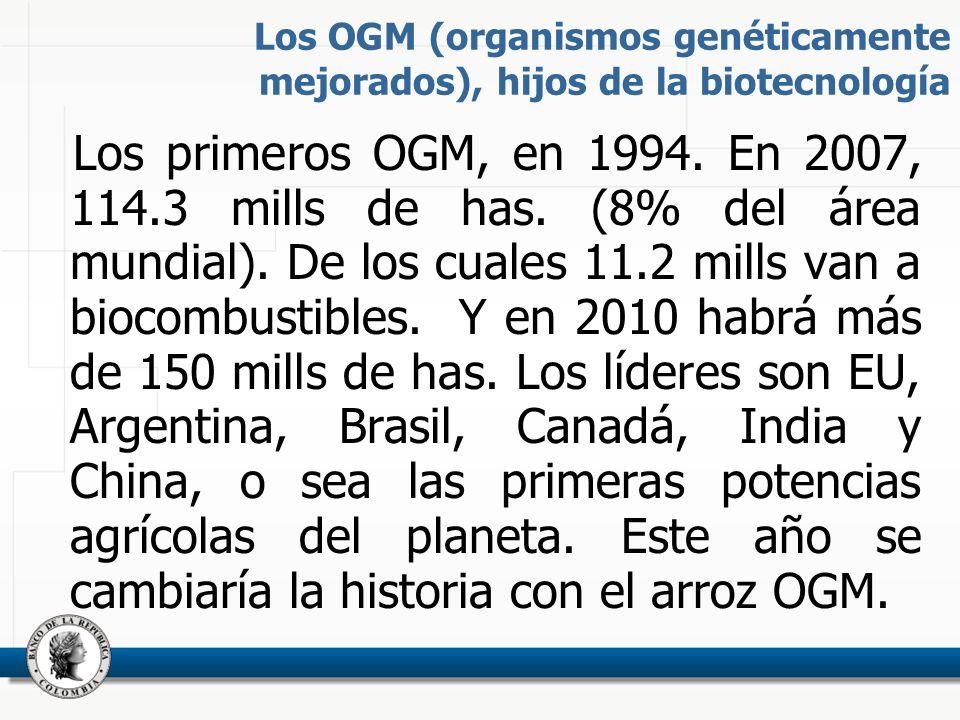Los OGM (organismos genéticamente mejorados), hijos de la biotecnología Los primeros OGM, en 1994.