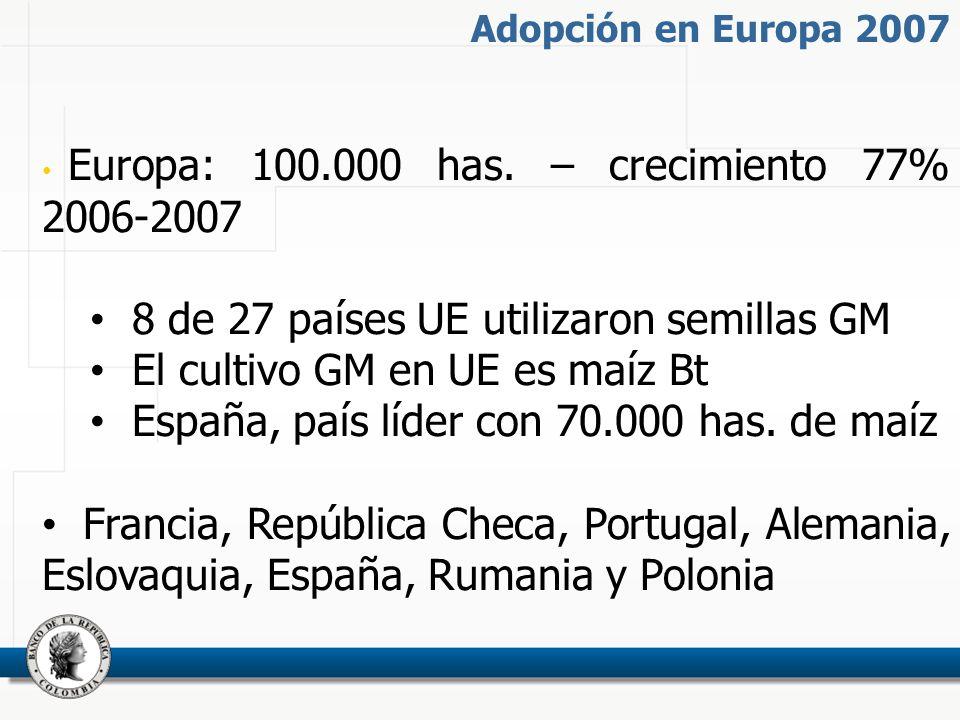 Adopción en Europa 2007 Europa: 100.000 has.