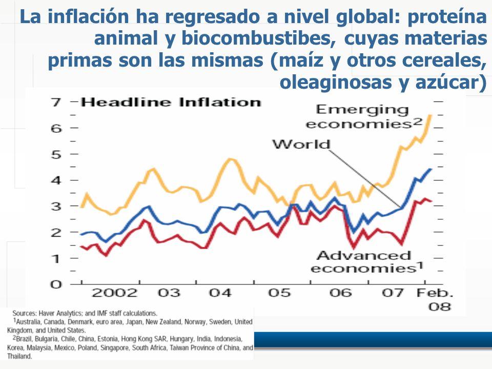 La inflación ha regresado a nivel global: proteína animal y biocombustibes, cuyas materias primas son las mismas (maíz y otros cereales, oleaginosas y azúcar)