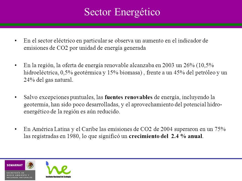 Sector Energético En el sector eléctrico en particular se observa un aumento en el indicador de emisiones de CO2 por unidad de energía generada En la región, la oferta de energía renovable alcanzaba en 2003 un 26% (10,5% hidroeléctrica, 0,5% geotérmica y 15% biomasa), frente a un 45% del petróleo y un 24% del gas natural.