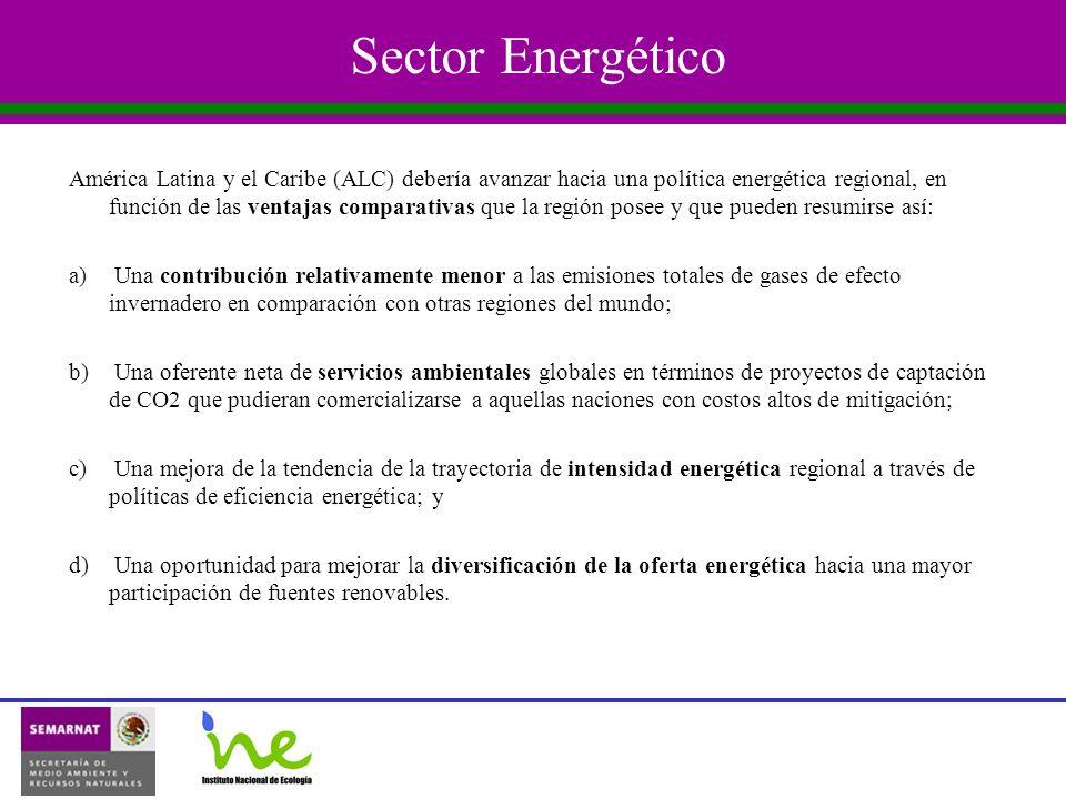 Sector Energético América Latina y el Caribe (ALC) debería avanzar hacia una política energética regional, en función de las ventajas comparativas que la región posee y que pueden resumirse así: a) Una contribución relativamente menor a las emisiones totales de gases de efecto invernadero en comparación con otras regiones del mundo; b) Una oferente neta de servicios ambientales globales en términos de proyectos de captación de CO2 que pudieran comercializarse a aquellas naciones con costos altos de mitigación; c) Una mejora de la tendencia de la trayectoria de intensidad energética regional a través de políticas de eficiencia energética; y d) Una oportunidad para mejorar la diversificación de la oferta energética hacia una mayor participación de fuentes renovables.