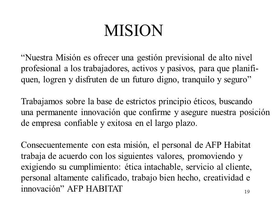 19 MISION Nuestra Misión es ofrecer una gestión previsional de alto nivel profesional a los trabajadores, activos y pasivos, para que planifi- quen, l