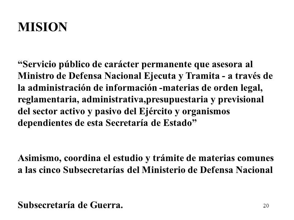 20 MISION Servicio público de carácter permanente que asesora al Ministro de Defensa Nacional Ejecuta y Tramita - a través de la administración de inf