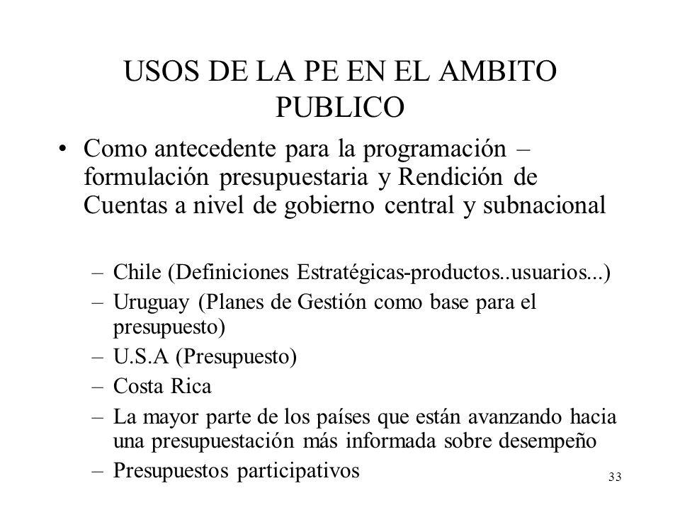 33 USOS DE LA PE EN EL AMBITO PUBLICO Como antecedente para la programación – formulación presupuestaria y Rendición de Cuentas a nivel de gobierno ce