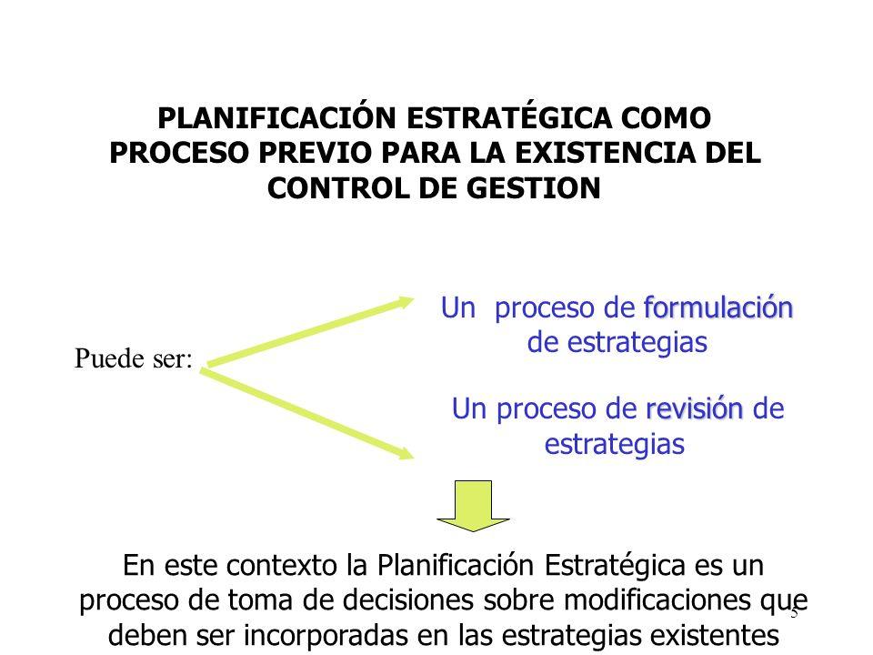 5 PLANIFICACIÓN ESTRATÉGICA COMO PROCESO PREVIO PARA LA EXISTENCIA DEL CONTROL DE GESTION Puede ser: formulación Un proceso de formulación de estrateg