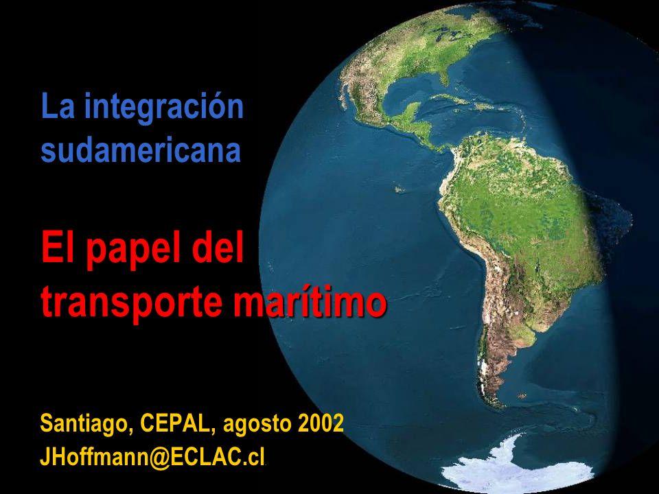 JHoffmann @ ECLAC.cl Tres ventajas de un acuerdo regionaln (cont.): Más tránsporte marítimo (versus otros modos) flota Ventaja de flota regional sobre extra-regional