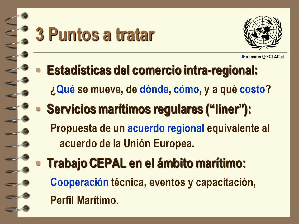 JHoffmann @ ECLAC.cl 3 Puntos a tratar 1: Estadísticas del comercio intra-regional: ¿Qué se mueve, de dónde, cómo, y a qué costo?