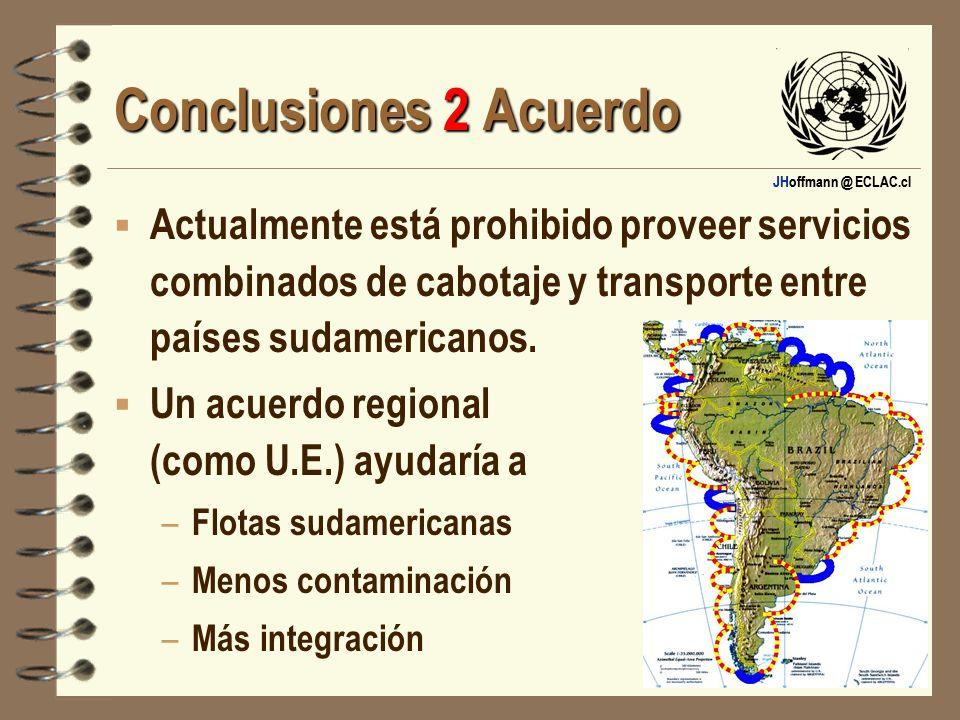 JHoffmann @ ECLAC.cl Conclusiones 2 Acuerdo Actualmente está prohibido proveer servicios combinados de cabotaje y transporte entre países sudamericano