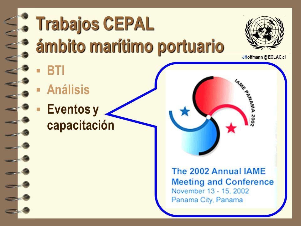 JHoffmann @ ECLAC.cl Trabajos CEPAL ámbito marítimo portuario BTI Análisis Eventos y capacitación
