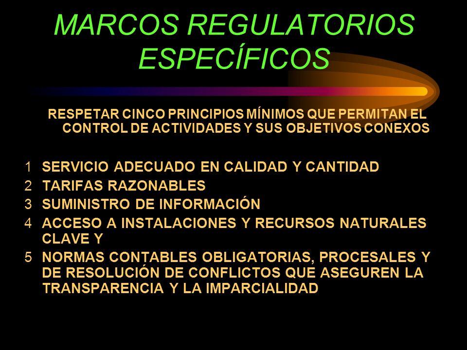 MARCOS REGULATORIOS ESPECÍFICOS RESPETAR CINCO PRINCIPIOS MÍNIMOS QUE PERMITAN EL CONTROL DE ACTIVIDADES Y SUS OBJETIVOS CONEXOS 1SERVICIO ADECUADO EN