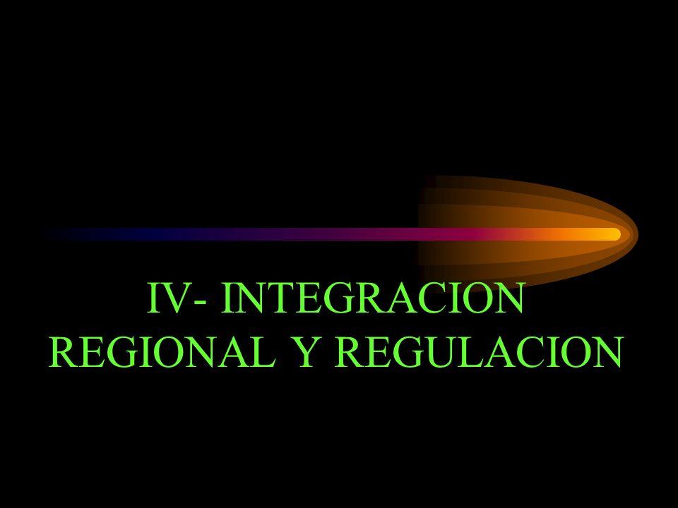 IV- INTEGRACION REGIONAL Y REGULACION