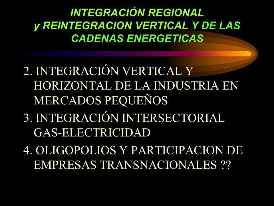 INTEGRACIÓN REGIONAL y REINTEGRACION VERTICAL Y DE LAS CADENAS ENERGETICAS 2.
