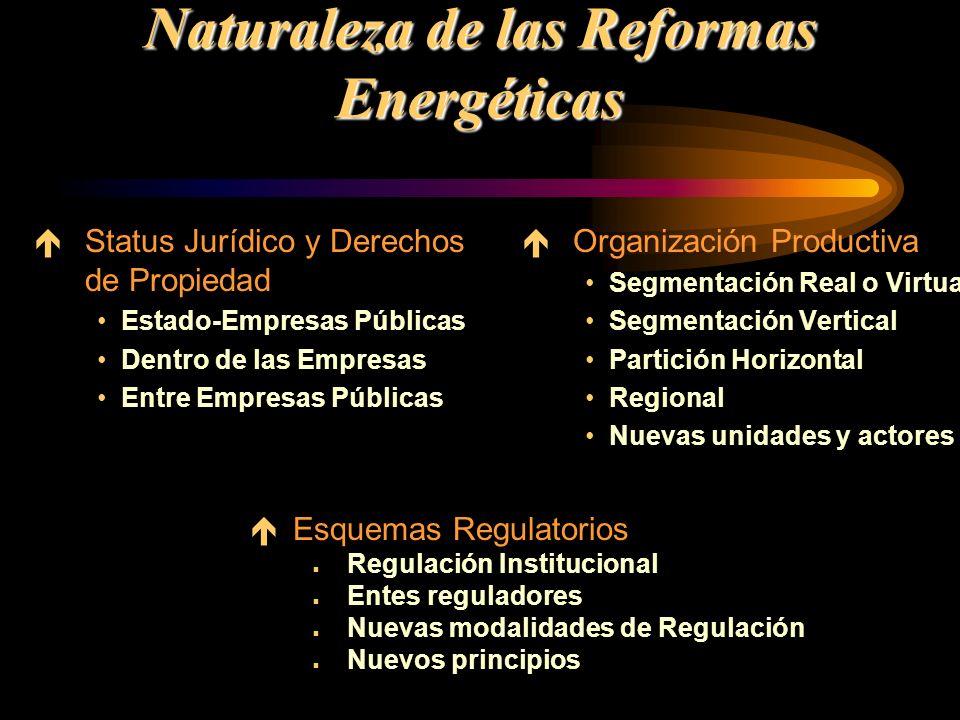 Naturaleza de las Reformas Energéticas éStatus Jurídico y Derechos de Propiedad Estado-Empresas Públicas Dentro de las Empresas Entre Empresas Pública