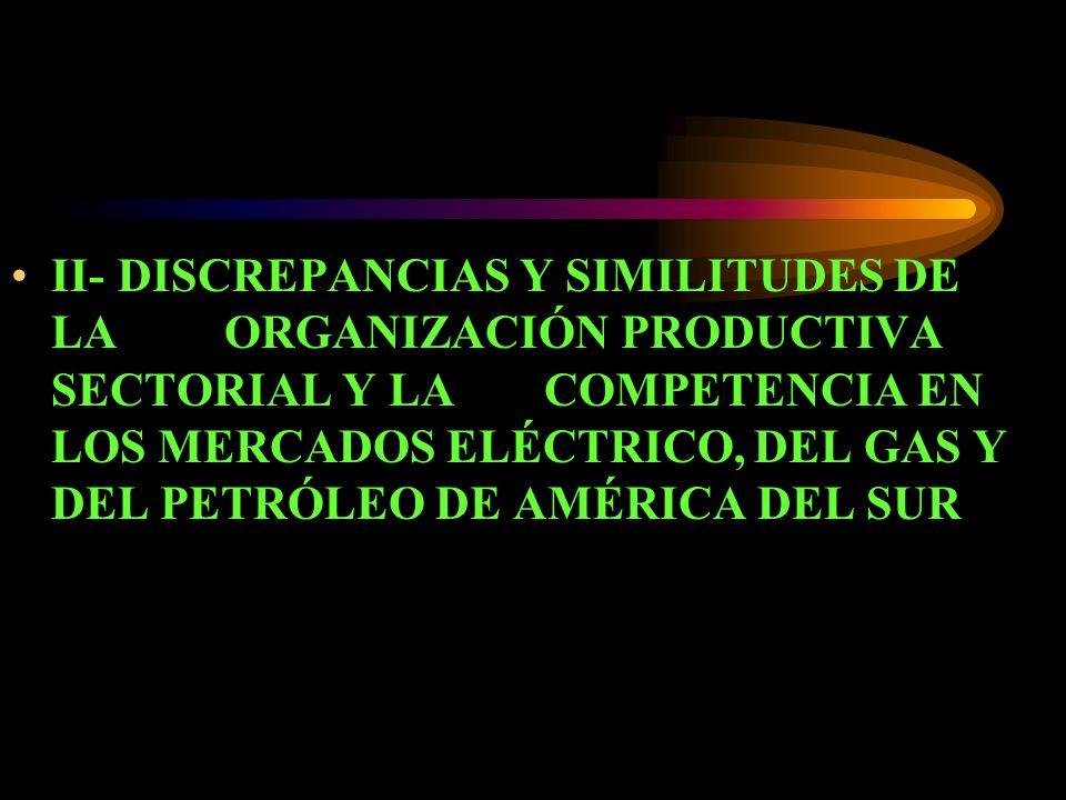 II- DISCREPANCIAS Y SIMILITUDES DE LA ORGANIZACIÓN PRODUCTIVA SECTORIAL Y LA COMPETENCIA EN LOS MERCADOS ELÉCTRICO, DEL GAS Y DEL PETRÓLEO DE AMÉRICA