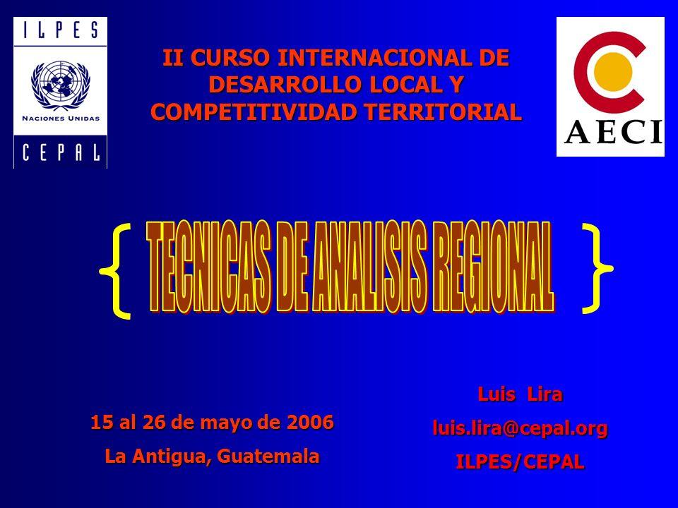 II CURSO INTERNACIONAL DE DESARROLLO LOCAL Y COMPETITIVIDAD TERRITORIAL Luis Lira luis.lira@cepal.orgILPES/CEPAL 15 al 26 de mayo de 2006 La Antigua,