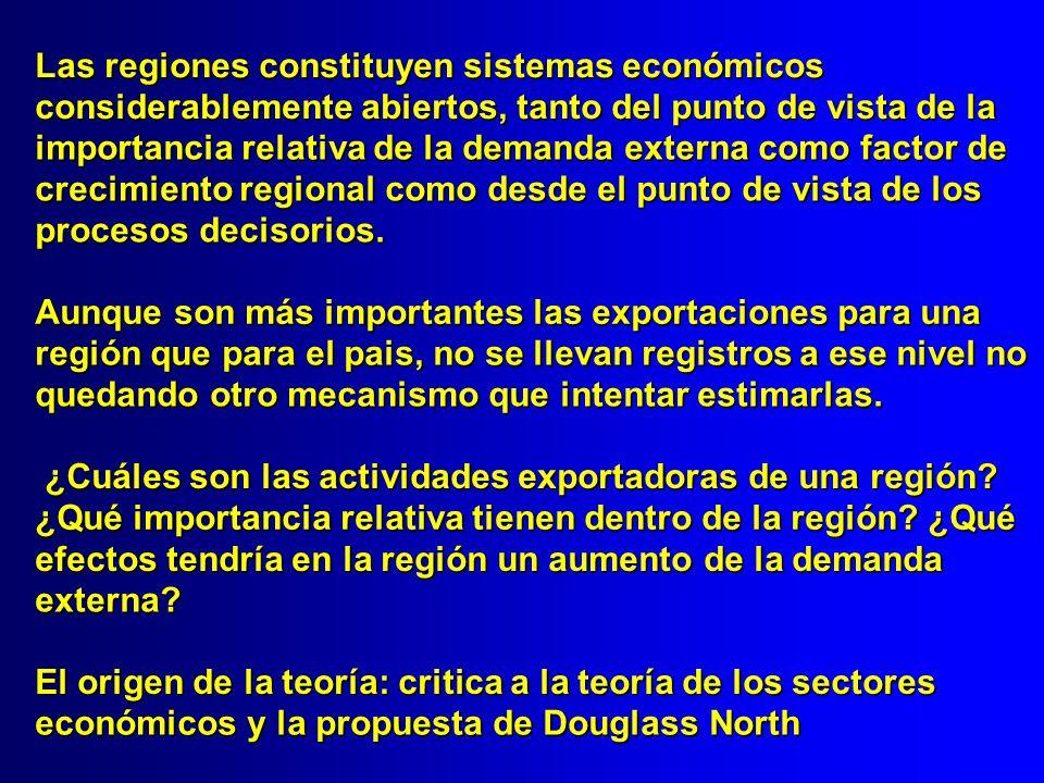 Las regiones constituyen sistemas económicos considerablemente abiertos, tanto del punto de vista de la importancia relativa de la demanda externa com