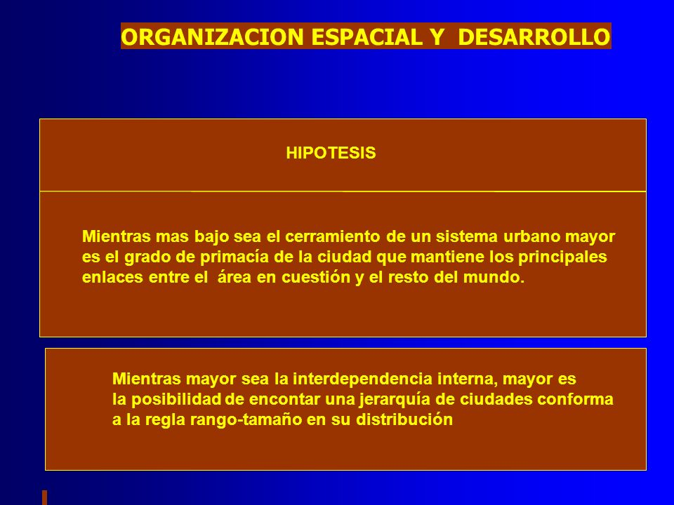 ORGANIZACION ESPACIAL Y DESARROLLO HIPOTESIS Mientras mas bajo sea el cerramiento de un sistema urbano mayor es el grado de primacía de la ciudad que