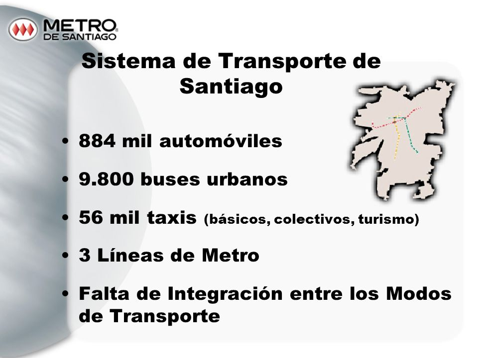 Sistema de Transporte de Santiago 884 mil automóviles 9.800 buses urbanos 56 mil taxis (básicos, colectivos, turismo) 3 Líneas de Metro Falta de Integ
