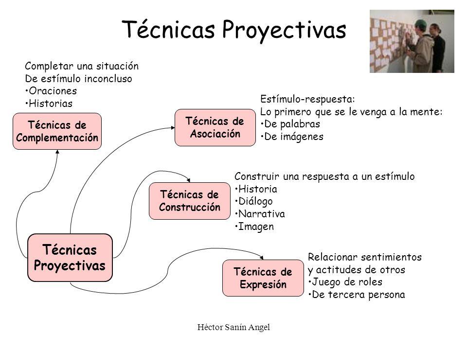 Héctor Sanín Angel Técnicas Proyectivas Técnicas Proyectivas Técnicas de Asociación Técnicas de Complementación Técnicas de Construcción Técnicas de E