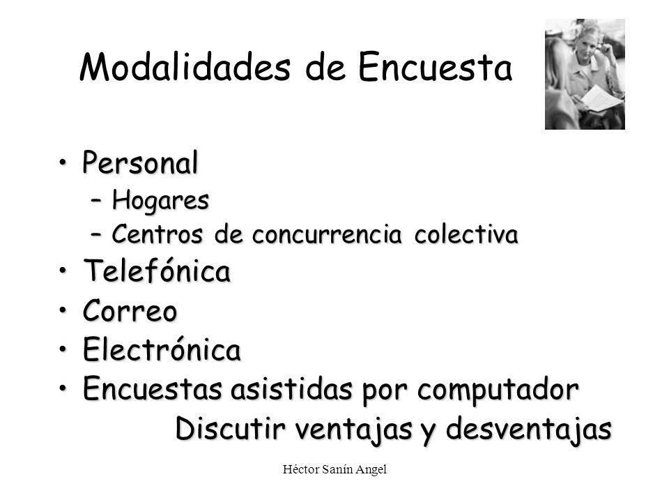 Héctor Sanín Angel Modalidades de Encuesta PersonalPersonal –Hogares –Centros de concurrencia colectiva TelefónicaTelefónica CorreoCorreo ElectrónicaE