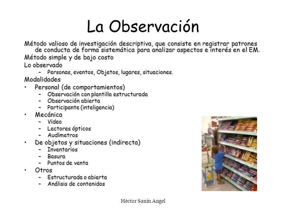 Héctor Sanín Angel La Observación Método valioso de investigación descriptiva, que consiste en registrar patrones de conducta de forma sistemática par
