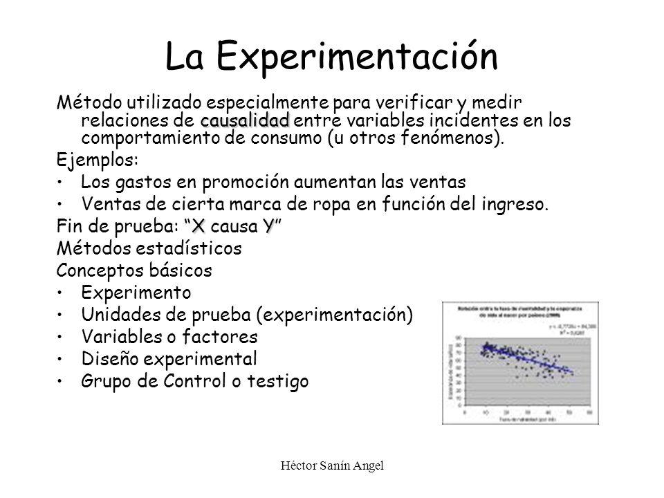 Héctor Sanín Angel La Experimentación causalidad Método utilizado especialmente para verificar y medir relaciones de causalidad entre variables incide