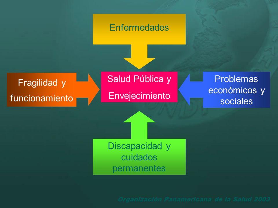 Organización Panamericana de la Salud 2003 Enfermedades Fragilidad y funcionamiento Problemas económicos y sociales Discapacidad y cuidados permanente