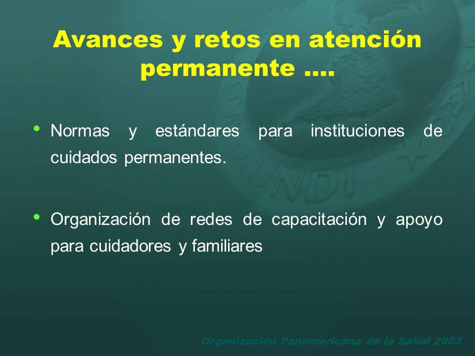 Organización Panamericana de la Salud 2003 Normas y estándares para instituciones de cuidados permanentes. Organización de redes de capacitación y apo