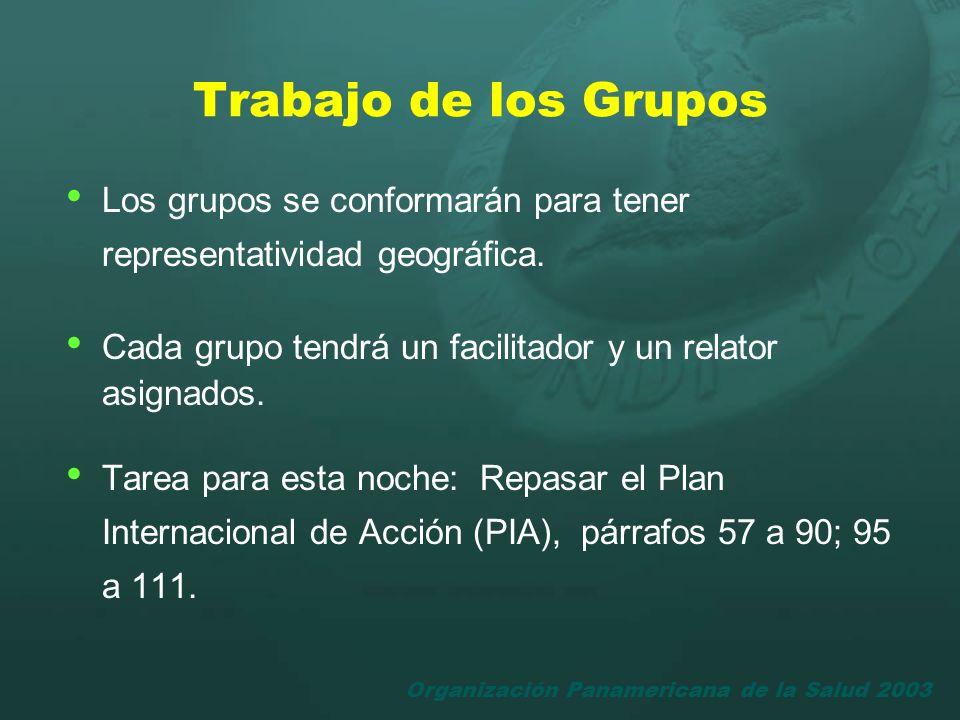 Organización Panamericana de la Salud 2003 Trabajo de los Grupos Los grupos se conformarán para tener representatividad geográfica. Cada grupo tendrá