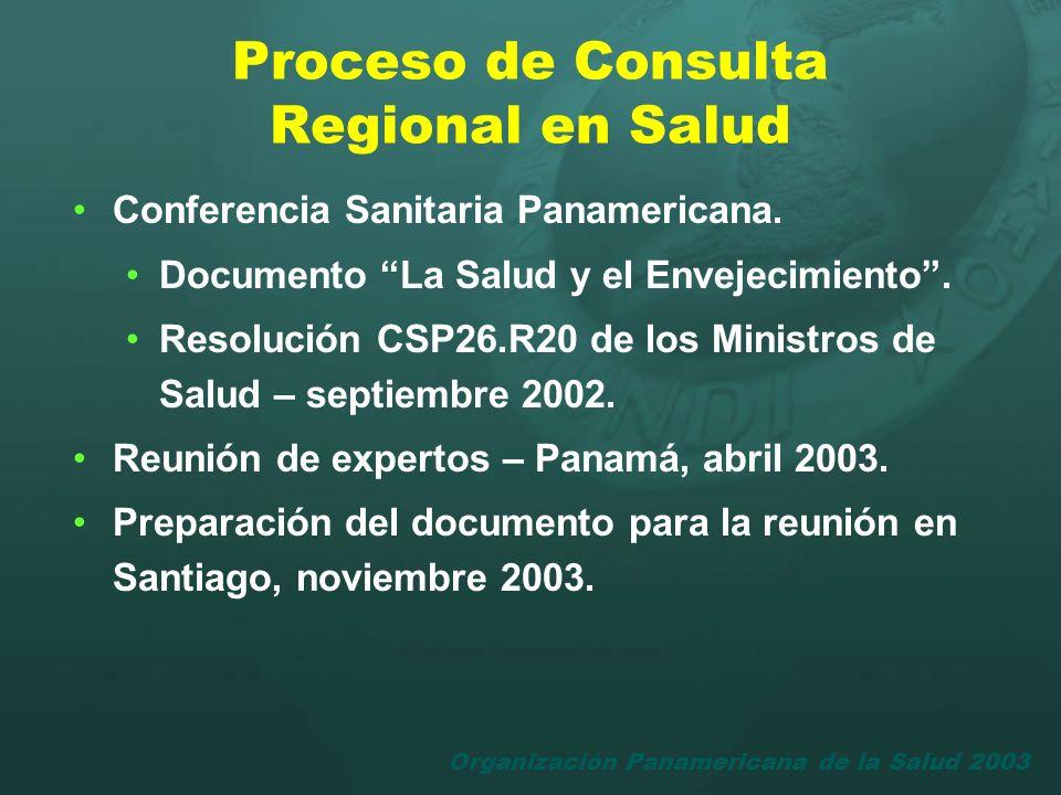 Organización Panamericana de la Salud 2003 Proceso de Consulta Regional en Salud Conferencia Sanitaria Panamericana. Documento La Salud y el Envejecim