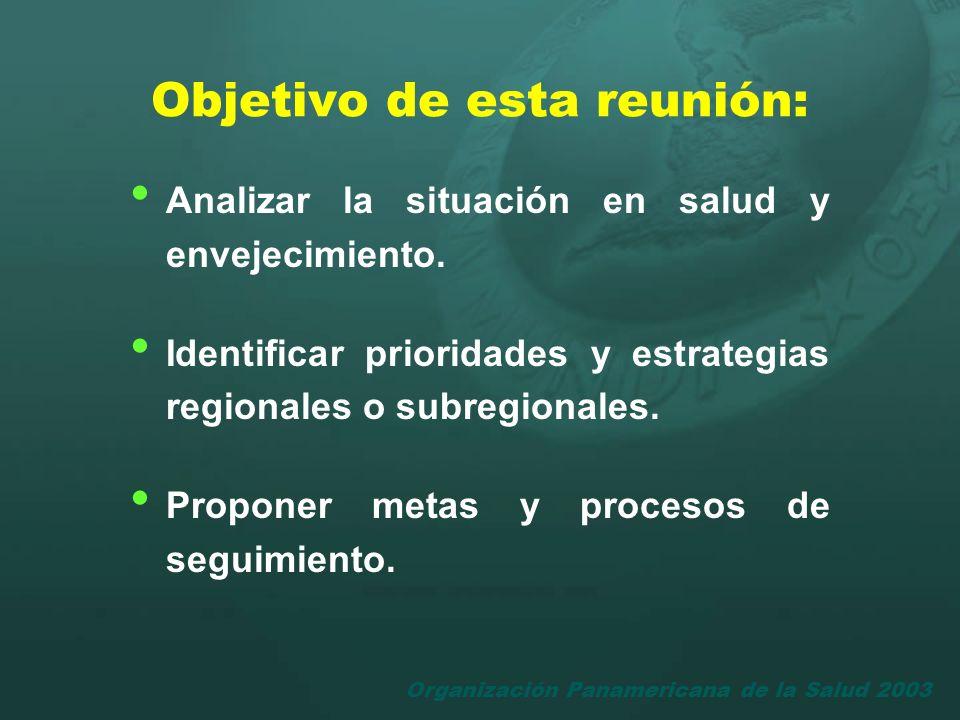 Organización Panamericana de la Salud 2003 Objetivo de esta reunión: Analizar la situación en salud y envejecimiento. Identificar prioridades y estrat