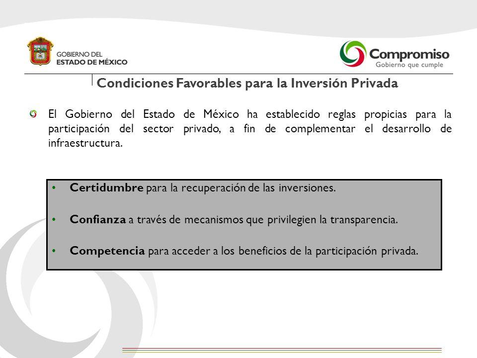 El Gobierno del Estado de México ha establecido reglas propicias para la participación del sector privado, a fin de complementar el desarrollo de infr