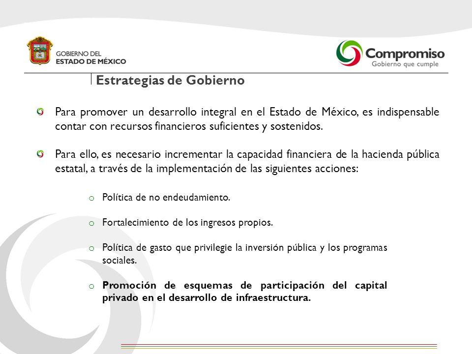 Estrategias de Gobierno Para promover un desarrollo integral en el Estado de México, es indispensable contar con recursos financieros suficientes y so