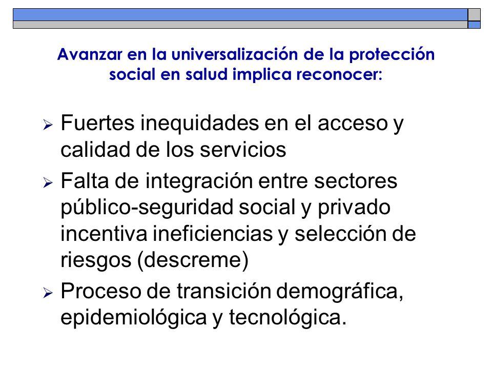 Avanzar en la universalización de la protección social en salud implica reconocer: Fuertes inequidades en el acceso y calidad de los servicios Falta d