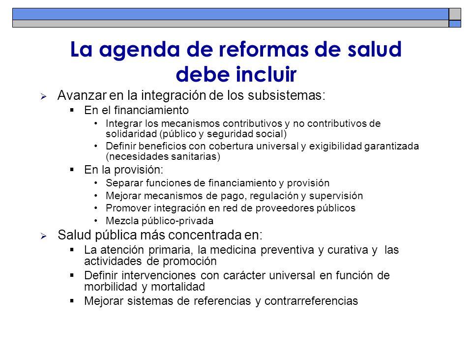 La agenda de reformas de salud debe incluir Avanzar en la integración de los subsistemas: En el financiamiento Integrar los mecanismos contributivos y