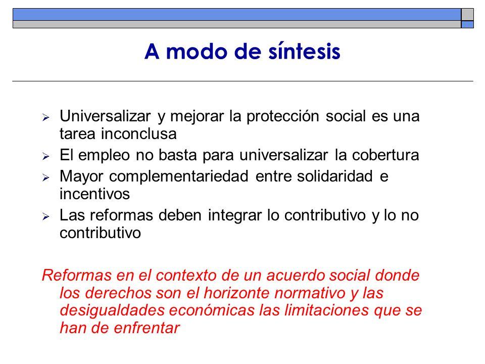 A modo de síntesis Universalizar y mejorar la protección social es una tarea inconclusa El empleo no basta para universalizar la cobertura Mayor compl
