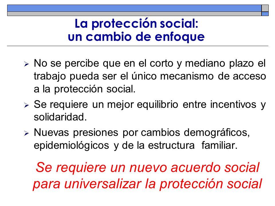 La protección social: un cambio de enfoque No se percibe que en el corto y mediano plazo el trabajo pueda ser el único mecanismo de acceso a la protec