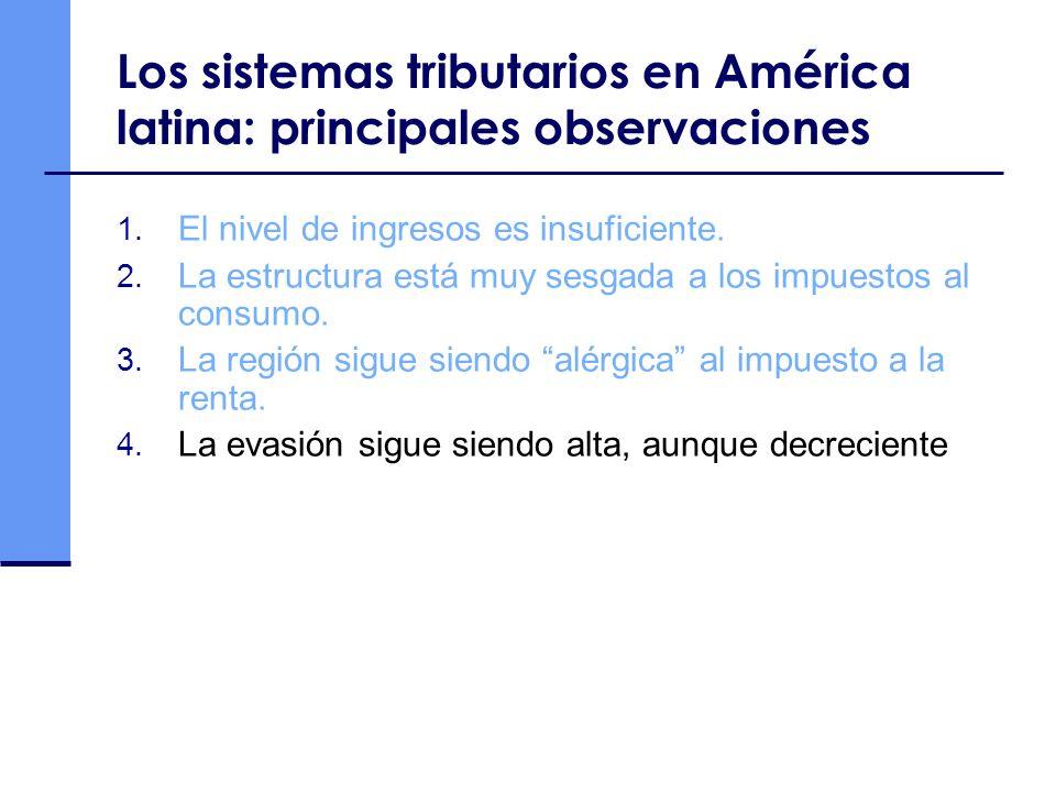 Los sistemas tributarios en América latina: principales observaciones 1. El nivel de ingresos es insuficiente. 2. La estructura está muy sesgada a los