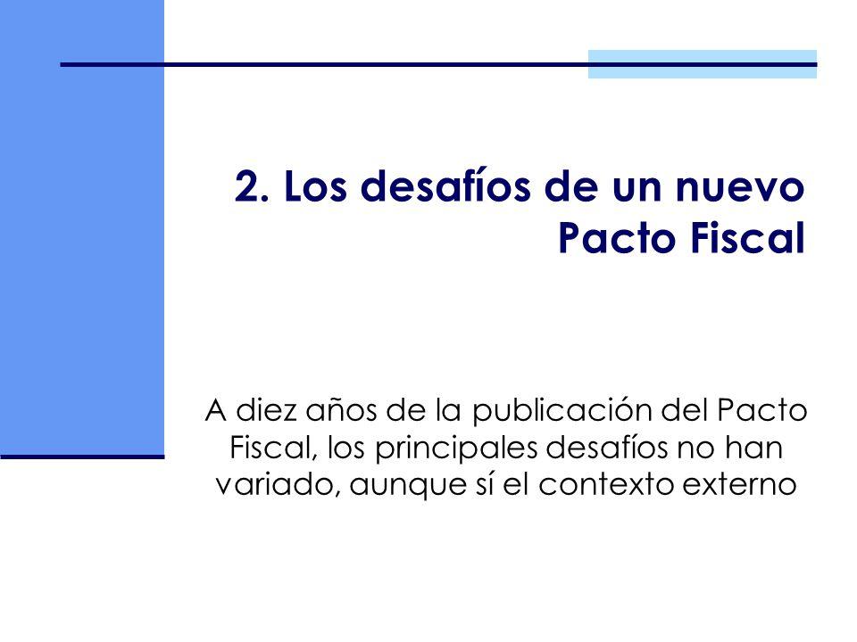 2. Los desafíos de un nuevo Pacto Fiscal A diez años de la publicación del Pacto Fiscal, los principales desafíos no han variado, aunque sí el context